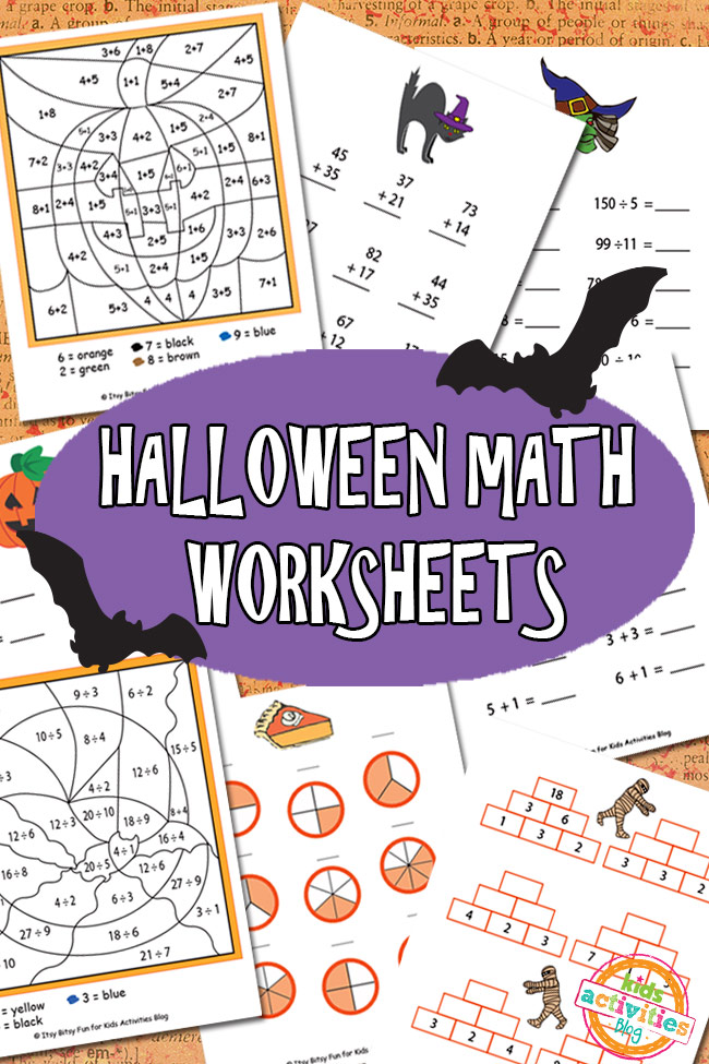 Halloween Math Worksheets Free Printable (photo from KidsActivitiesBlog.com)